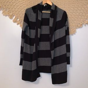 Joie | Anthropologie Black & Grey Striped Cardigan